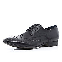Black studded front lace up brogues