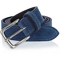 Blue suede chino belt