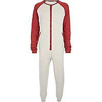 Red contrast sleeve button through onesie