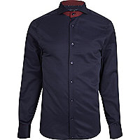 Navy cut-away collar long sleeve shirt