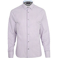 Purple vertical stripe long sleeve shirt