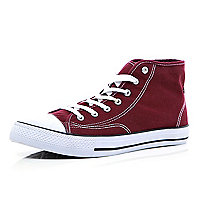 Dark red lace up high tops