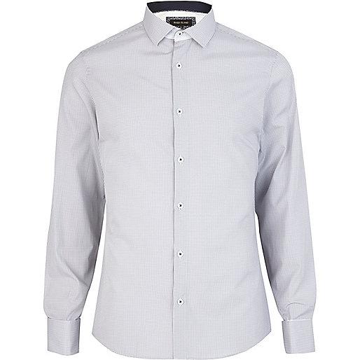 Grey check cut away collar shirt