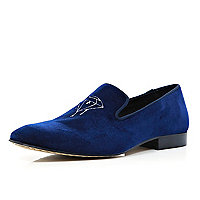 Navy velvet embroidered slipper shoes