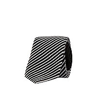 Black and white diagonal stripe tie