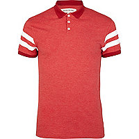 Red varsity stripe short sleeve polo shirt