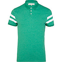 Green varsity stripe short sleeve polo shirt