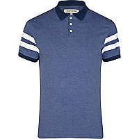 Blue varsity stripe short sleeve polo shirt