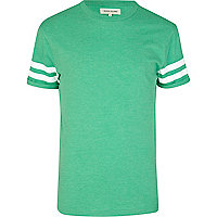 Green varsity stripe crew neck t-shirt