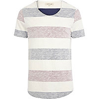 Ecru reverse colour block stripe t-shirt