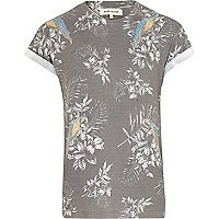 Grey tropical parrot print t-shirt
