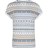 Ecru pale tribal print t-shirt