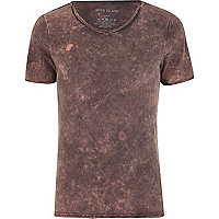 Black acid wash low scoop neck t-shirt