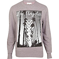 Purple Los Angeles photo print sweatshirt