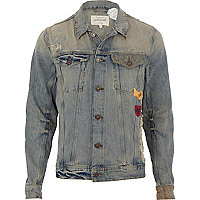 Mid wash distressed badge denim jacket