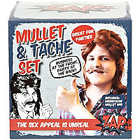 Mullet and moustache fancy dress set