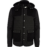 Black casual quilted patch jacket