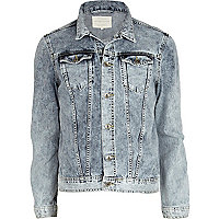 Acid wash LA Athletics print denim jacket