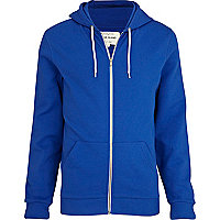 Bright blue zip through hoodie