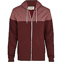 Red two tone zip through hoodie