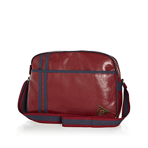 Dark red Dunlop high shine messenger bag