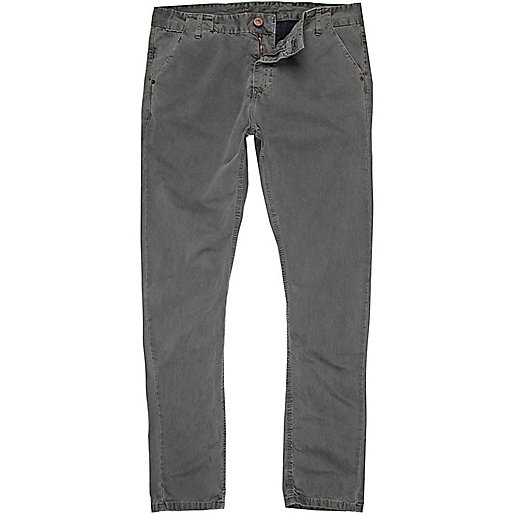 Grey washed slim chinos