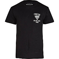 Black fresh back print t-shirt