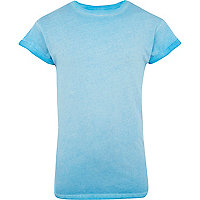 Blue neon washed short sleeve t-shirt