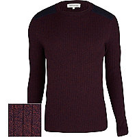 Purple rib quilted shoulder patch jumper