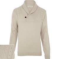 Ecru cable knit shawl neck jumper