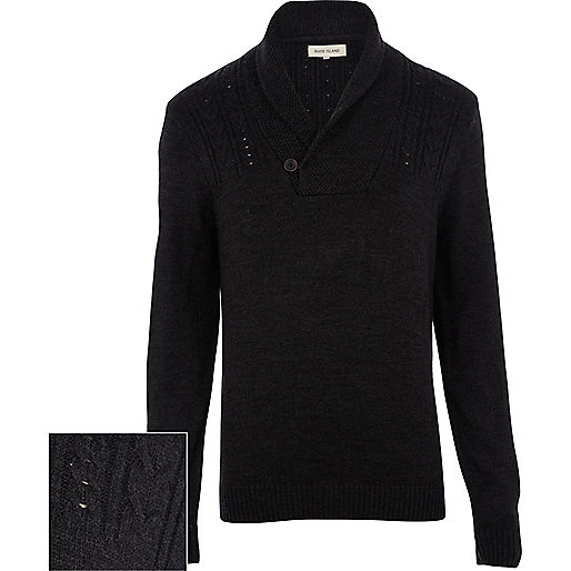 Dark grey cable knit shawl neck jumper