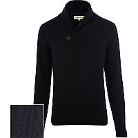 Navy blue cable knit shawl neck jumper