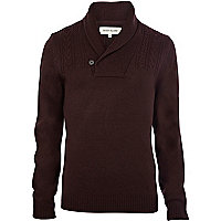 Purple cable knit shawl neck jumper