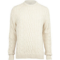 Ecru chunky twist cable knit jumper