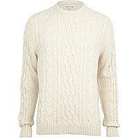 Ecru chunky twist cable knit jumper