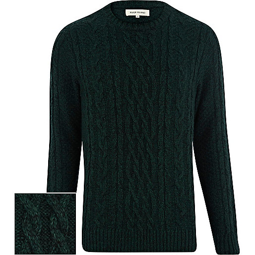 Dark green cable knit jumper