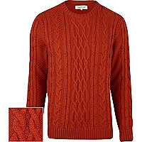 Rust red twist chunky cable knit jumper