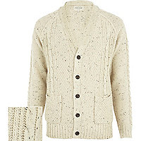 Ecru cable knit V neck cardigan