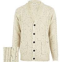 Ecru cable knit V neck cardigan