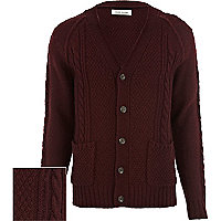 Burgundy cable knit V neck cardigan