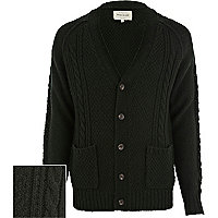 Dark green cable knit V neck cardigan