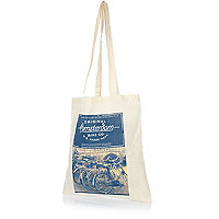 Ecru Amsterdam print shopper bag