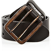 Black double prong buckle belt