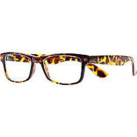 Brown tortoise shell clear glasses