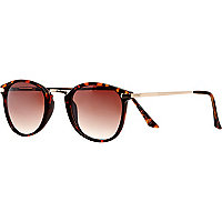 Brown tortoise shell round retro sunglasses