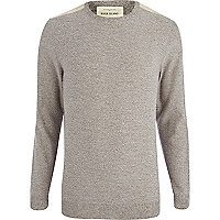 Brown marl shoulder patch jumper