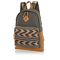Grey aztec panel rucksack