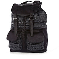 Black aztec panel rucksack