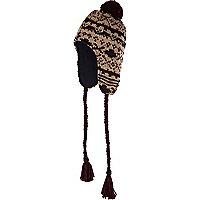 Ecru fairisle peruvian hat