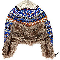 Blue fair isle faux fur lined trapper hat